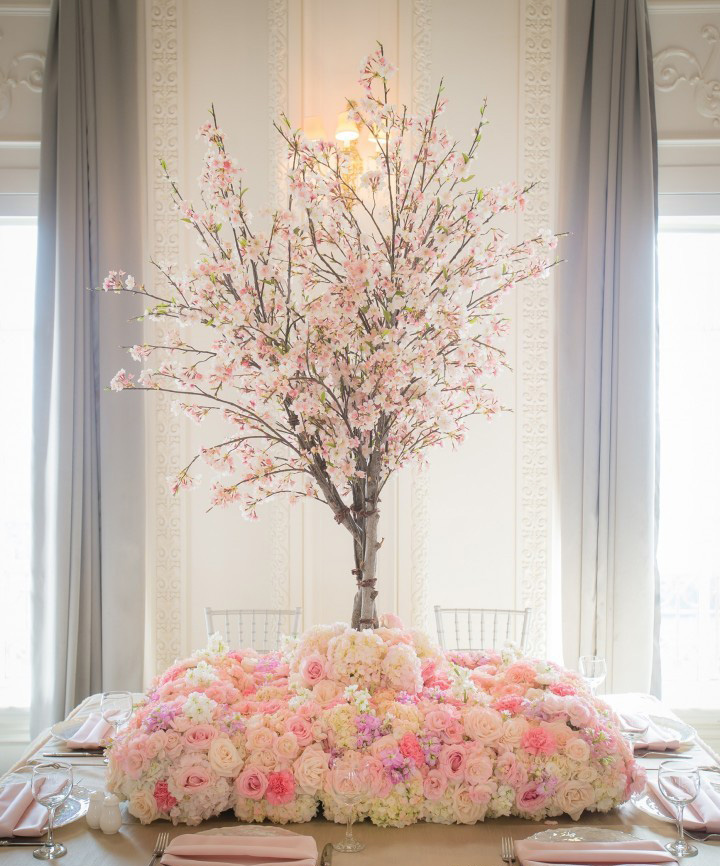 JamesWalton_FrenchBouquet_Tabletop-Cherry-Blossom-Tree-with-Bed-of-Pink-Roses-Carnations-Hydrangea-and-Stock-The-French-Bouquet-James-Walton-Photo