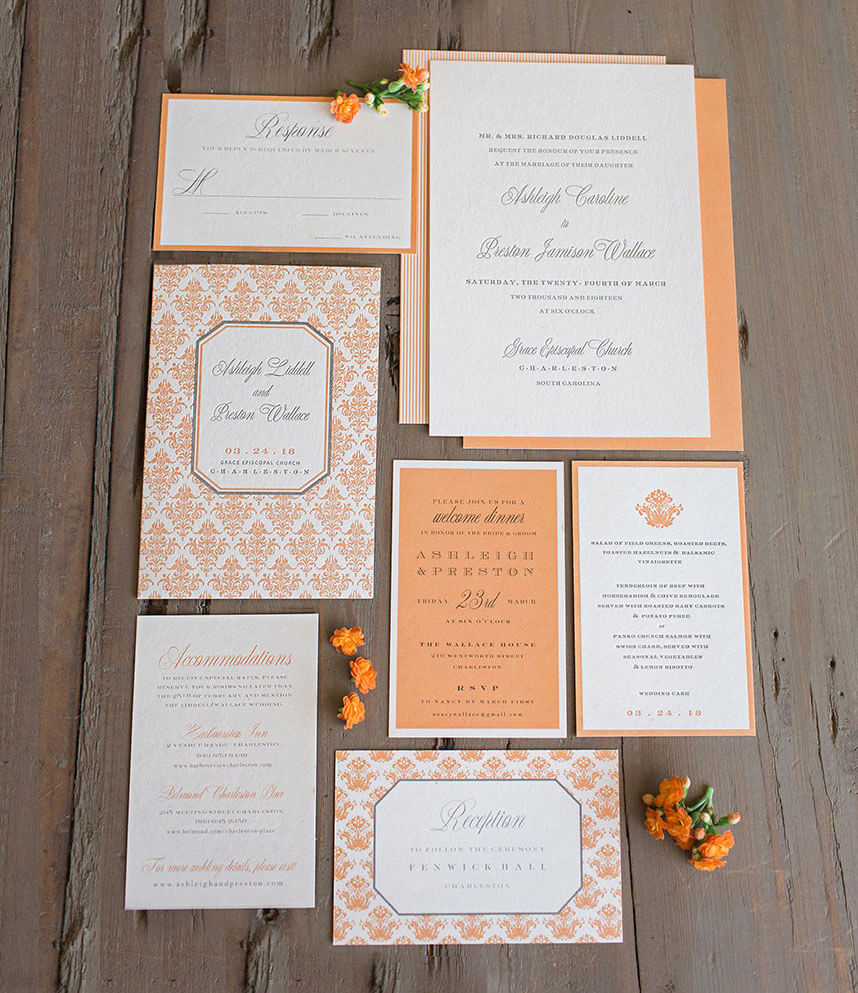 Color coded wedding invitations by oklahomas top designers give your elegant invites a citrus splash in shades of sherbet with this suite by occasions paper monicamarmolfo Gallery