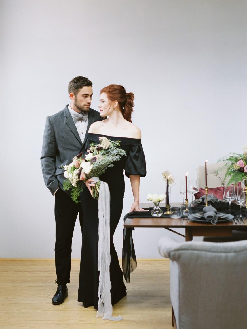 Show Stopping Black Dress Inspiration Shoot Oklahoma Wedding Venue Holloway House Planner June