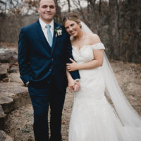 Kenzie Rhoads Weds Jamon Davison Dusty Blue Oklahoma Wedding at Camp Loughridge