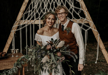 Cierra Cronch Weds Josiah Biles Casual Boho Wedding at The Stone Barn