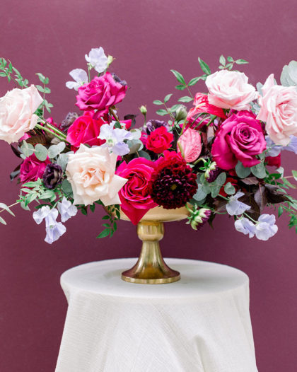 fuchsia and pastel floral arrangement