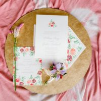 floral inspired wedding invitation