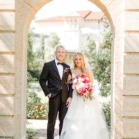 modern pink wedding couple