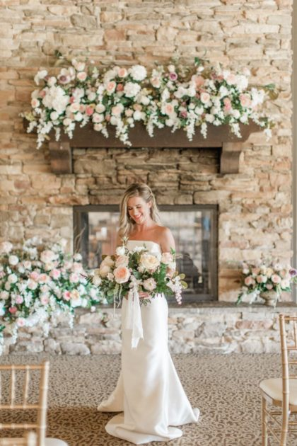 elegant pastel wedding oak tree country club