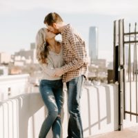 urban sunset engagement session