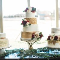 wedding cake gold blush and maroon