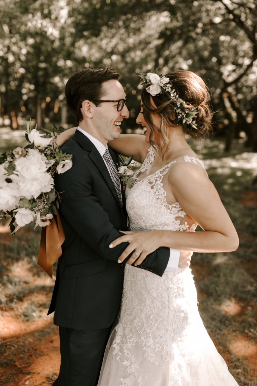 whimsical outdoor wedding couple