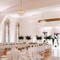 white ballroom wedding reception
