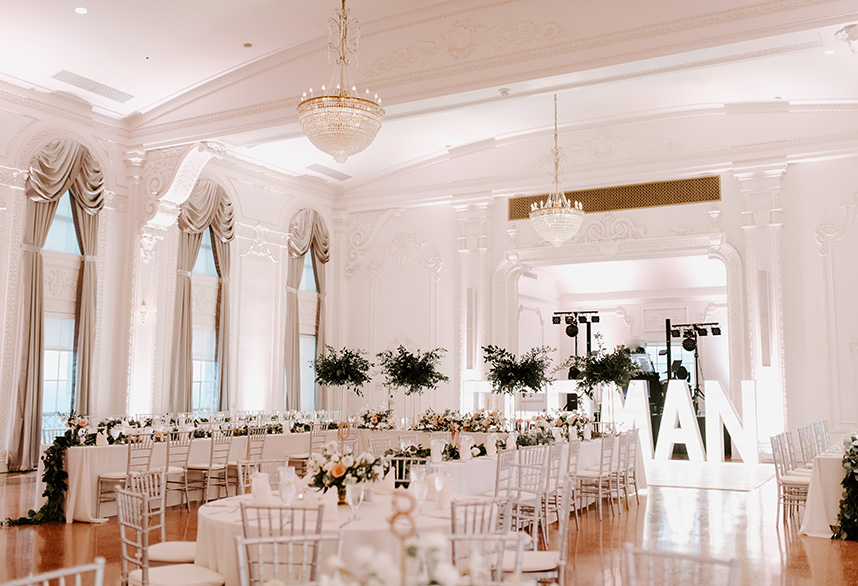 white ballroom wedding reception
