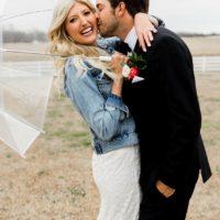 romantic umbrella bride and groom