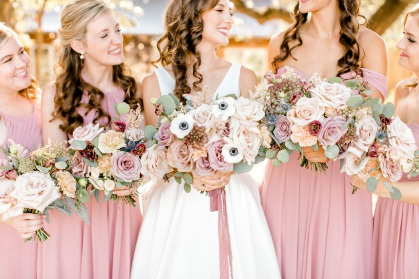 modern floral bridesmaids