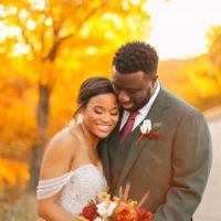 autumnal aesthetic wedding couple