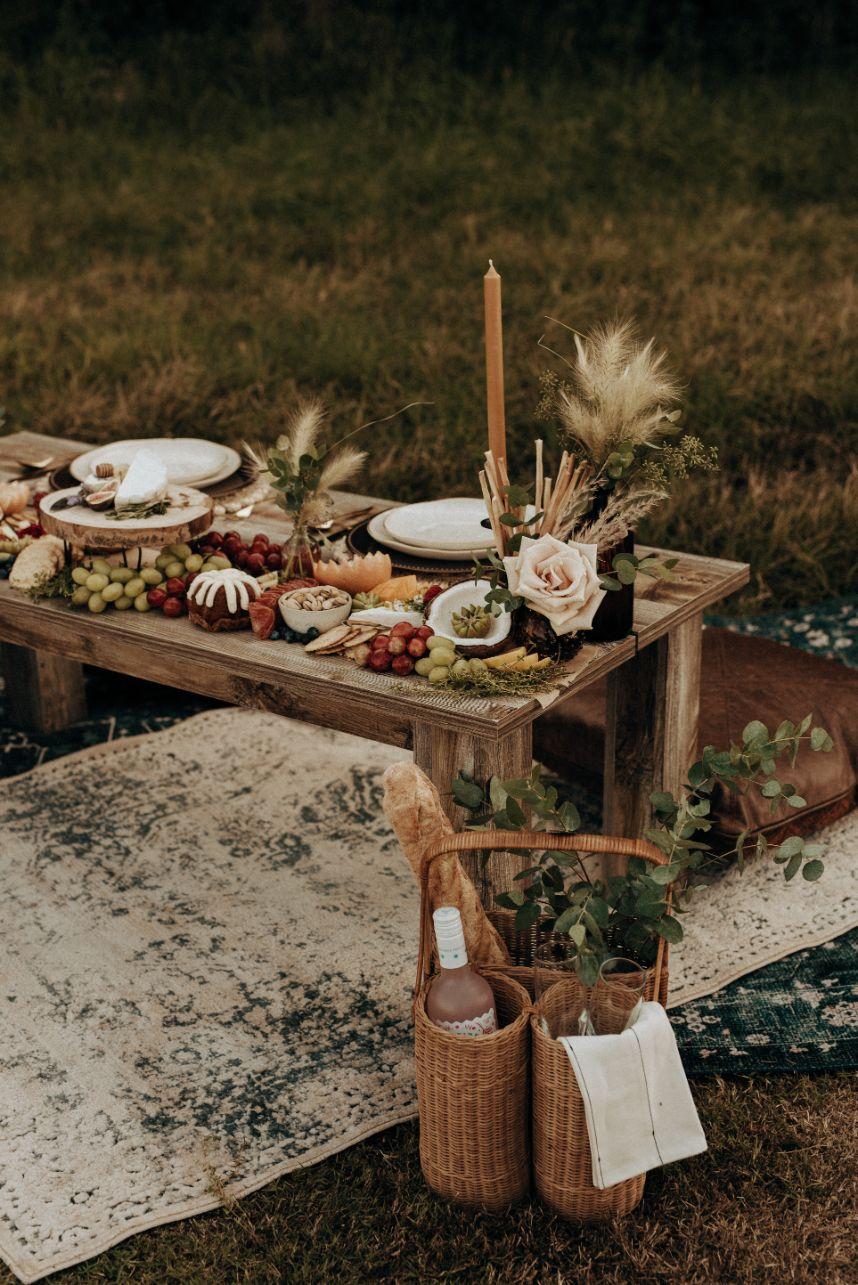 Mod Boho Elopement Inspiration Oklahoma Wedding Catering Caterer OK Graze Charcuterie Oklahoma Wedding Decor Rentals Runaway Belle Vintage Rentals