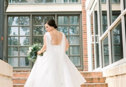 Beautiful gown on steps