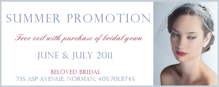 Beloved Bridal Norman Oklahoma summer promotion wedding gowns