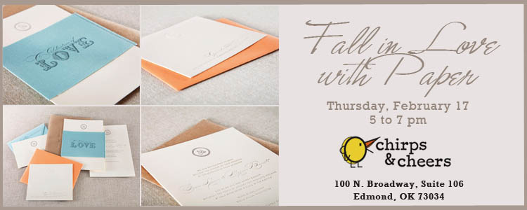 Fall in Love with Paper, Chirps and Cheers, Oklahoma Wedding Stationery
