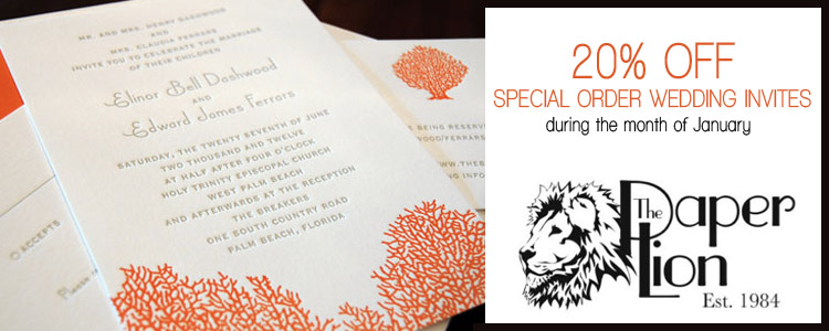 Paper Lion 20% off, Wedding Invitations in Oklahoma