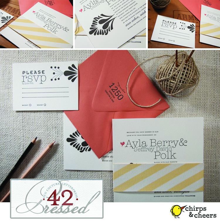 42 Pressed, Chirps and Cheers, Oklahoma Wedding Stationery