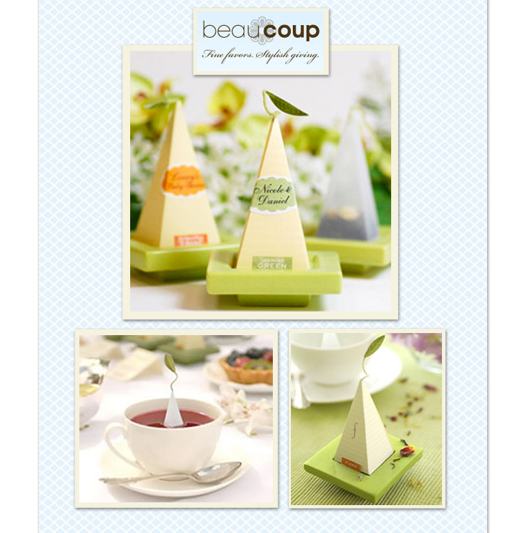Oklahoma wedding favors - tea sachets from Beau Coup