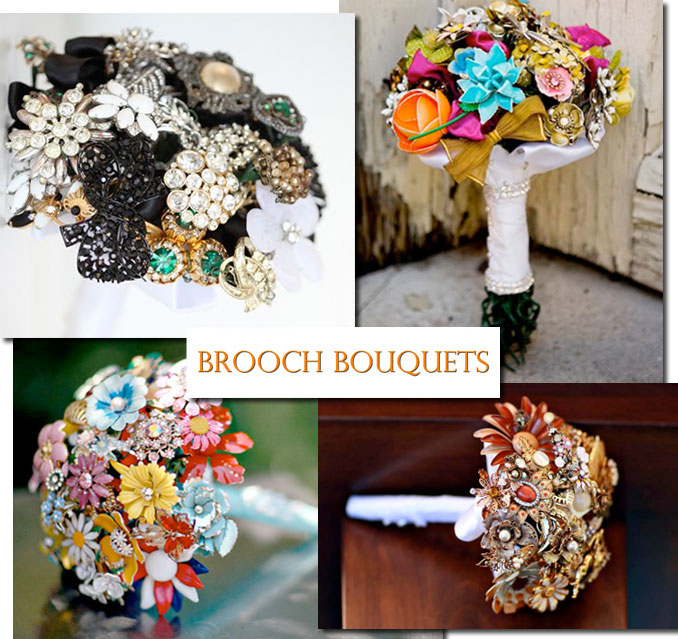 For a vintage wedding bouquet, check out brooch bouquets!