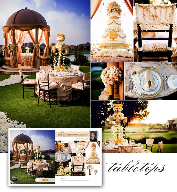 Oklahoma wedding planner The Wedding Belle tabletop display in Brides of Oklahoma magazine