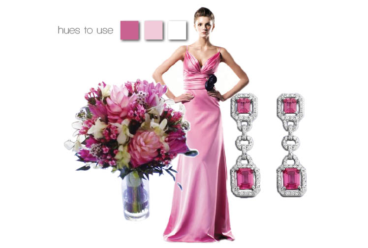 Brides of Oklahoma pink wedding colors - Bridal Boutique in Norman, Cole Dewey Designs in Oklahoma City and Naifeh Fine Jewelry in Oklahoma City