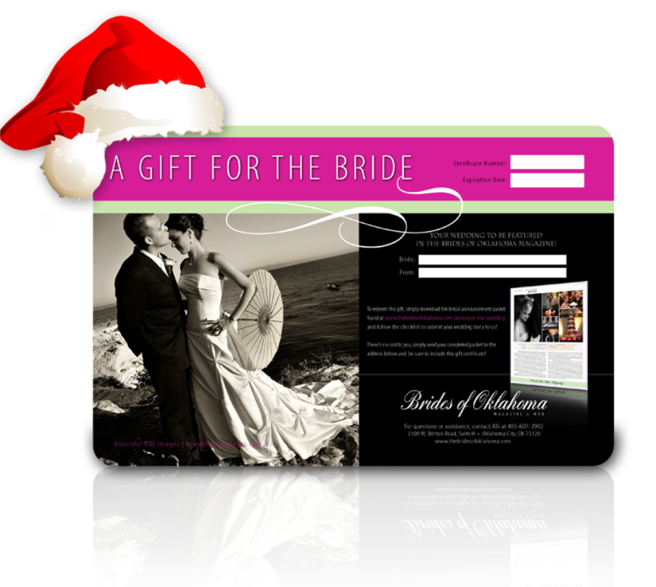 Brides of Oklahoma wedding and engagement announcement gift cards for the holiday season