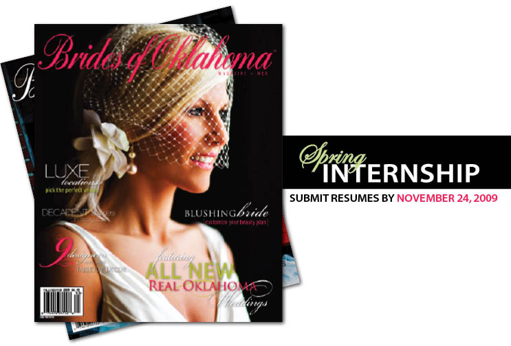Brides of Oklahoma magazine spring internship in Oklahoma City