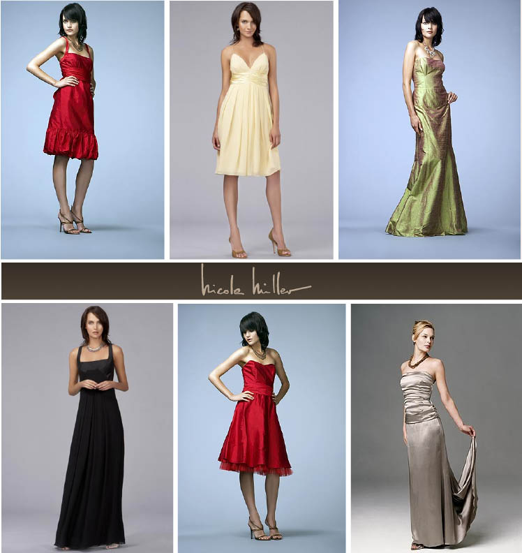 Nicole Miller bridesmaids dresses available at J.J. Kelly Bridal Salon in Oklahoma City