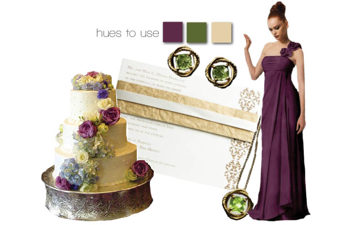 Oklahoma wedding colors — purple, green and gold