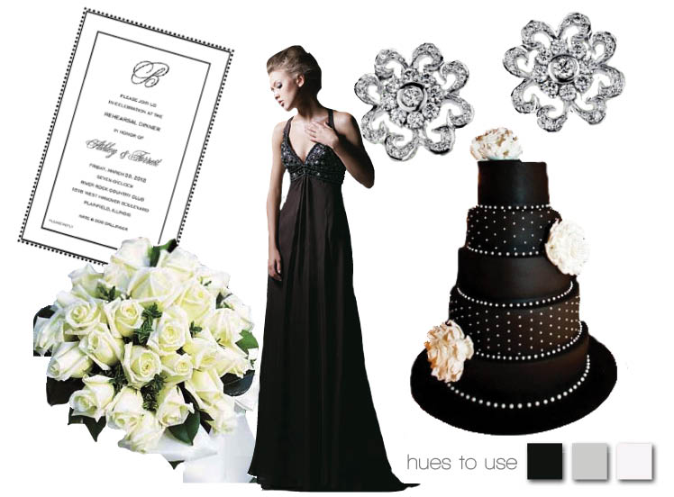 Black and white wedding colors for Oklahoma wedding