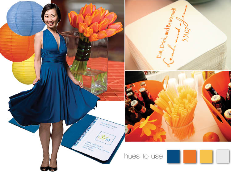 Orange and blue wedding color combination