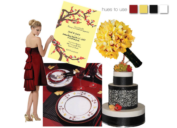 Red and yellow wedding colors with red bridesmaid dress by Bari Jay from Bella Rose Bridal in Edmond and The Bridal Boutique in Norman, Oklahoma
