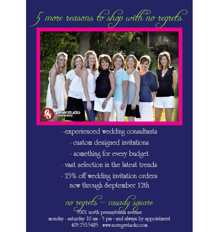 No Regrets wedding invitation sale in Oklahoma City, Oklahoma