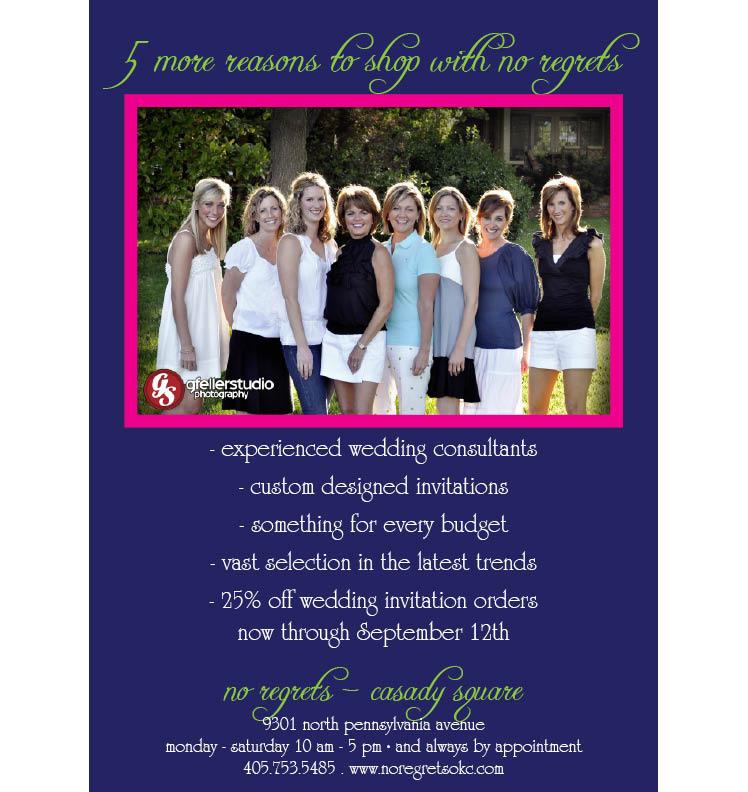 No Regrets wedding invitation sale in Oklahoma City, Oklahoma