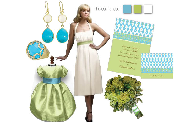 Turquoise and lime wedding day color scheme with invitations from Whitney English, dresses from Bridal Classiques in Tulsa and Bella Rose Bridal in Edmond, flowers by Cole Dewey Designs and earings from B.C. Clark Jewelers in Oklahoma City, Oklahoma