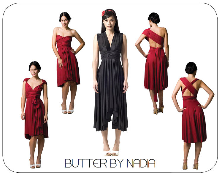 Butter by Nadia wrap bridesmaids' dresses available at Meg Guess Couture in Oklahoma City, Oklahoma