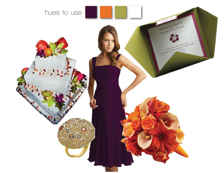 Tropic-inspired wedding colors of purple, green and orange are a great color combination for an Oklahoma summer wedding!