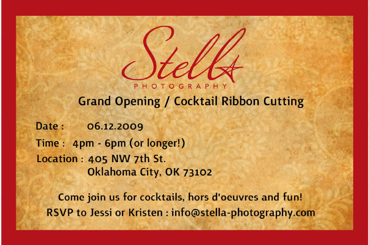 Stella Photography Grand Opening in Midtown Oklahoma City Friday, June 12