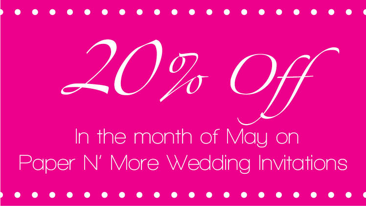20 percent off wedding invitations at Paper N' More in Oklahoma City
