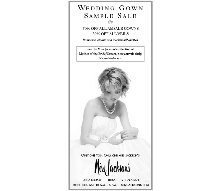Miss jackson 39 s wedding gown sample sale for Wedding dress rental tulsa