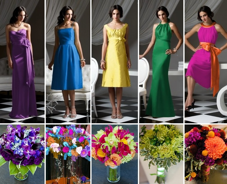 Dessy Collection paired with bouquets from The French Bouquet, Uptown Marketplace and Cole Dewey Designs