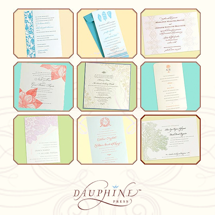 Dauphine wedding invitations at Paper Girl in Tulsa or By Invitation Only in Oklahoma City
