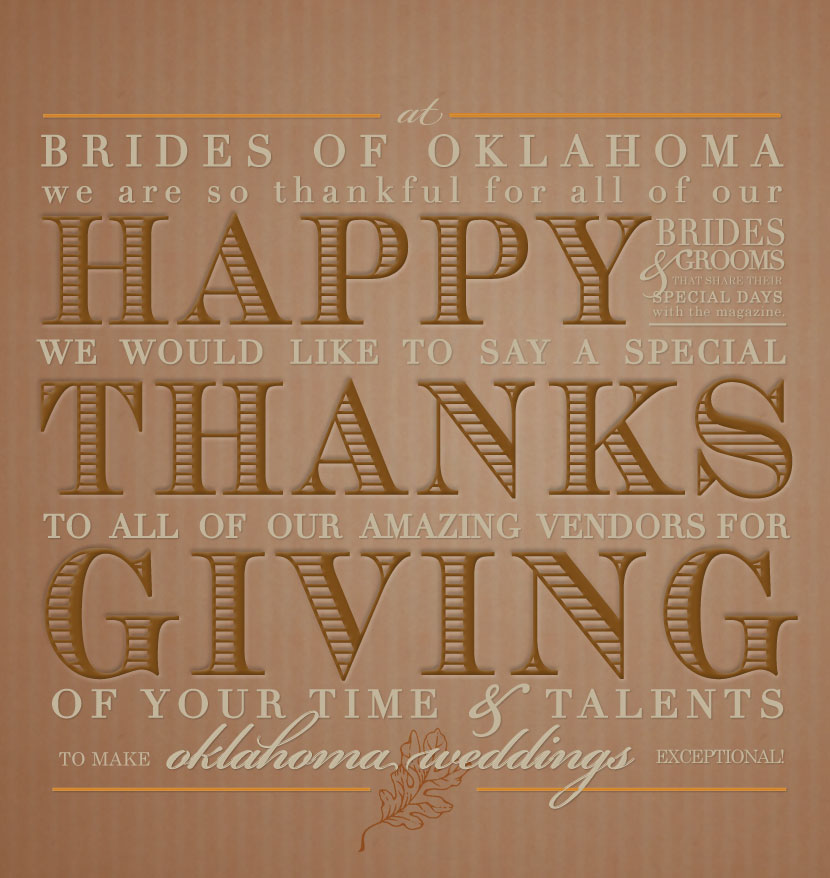Happy Thanksgving from Brides of Oklahoma