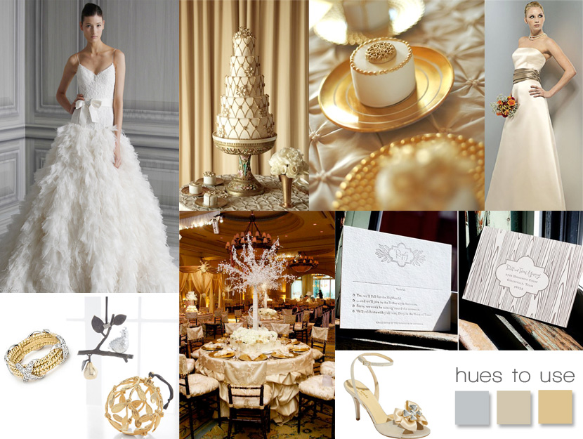 Oklahoma gold, platinum and champagne wedding colors