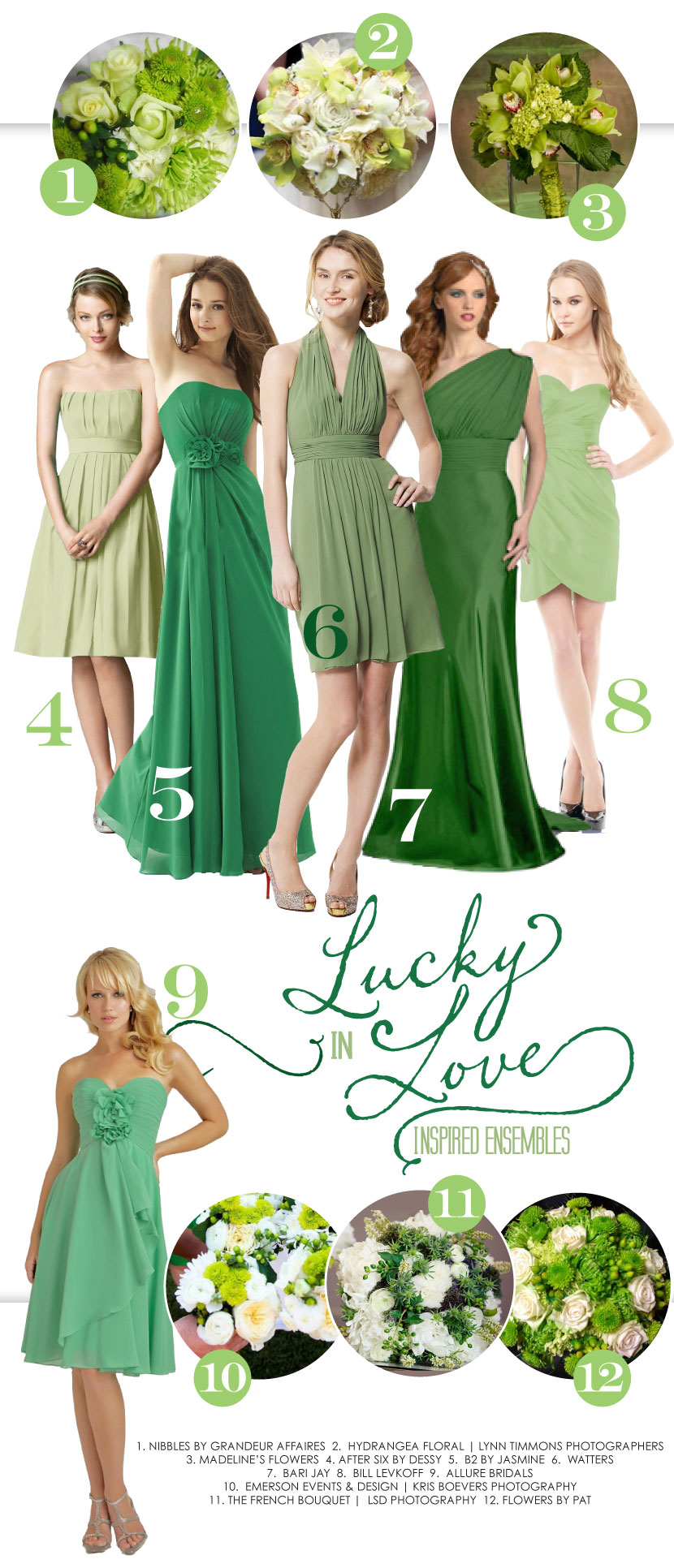 Oklahoma green bridesmaid dresses and wedding bouquets