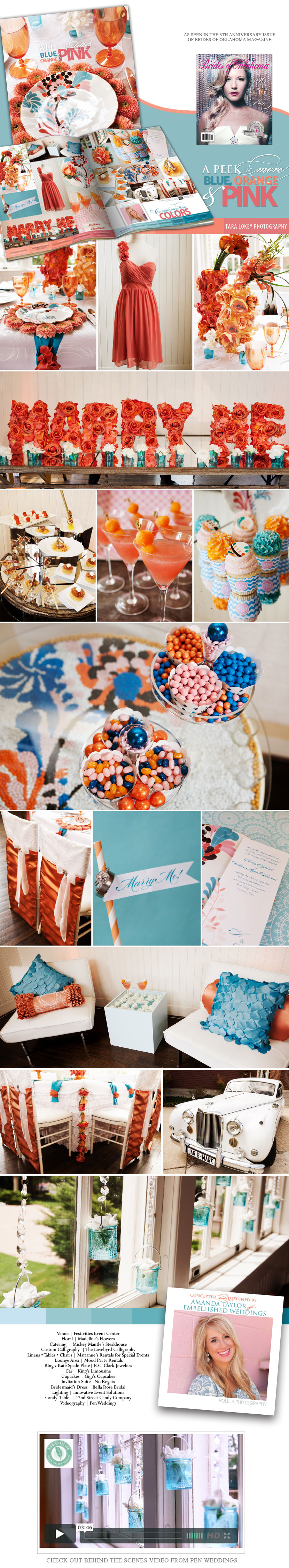 Oklahoma wedding inspiration from Embellished Weddings in blue, orange and pink