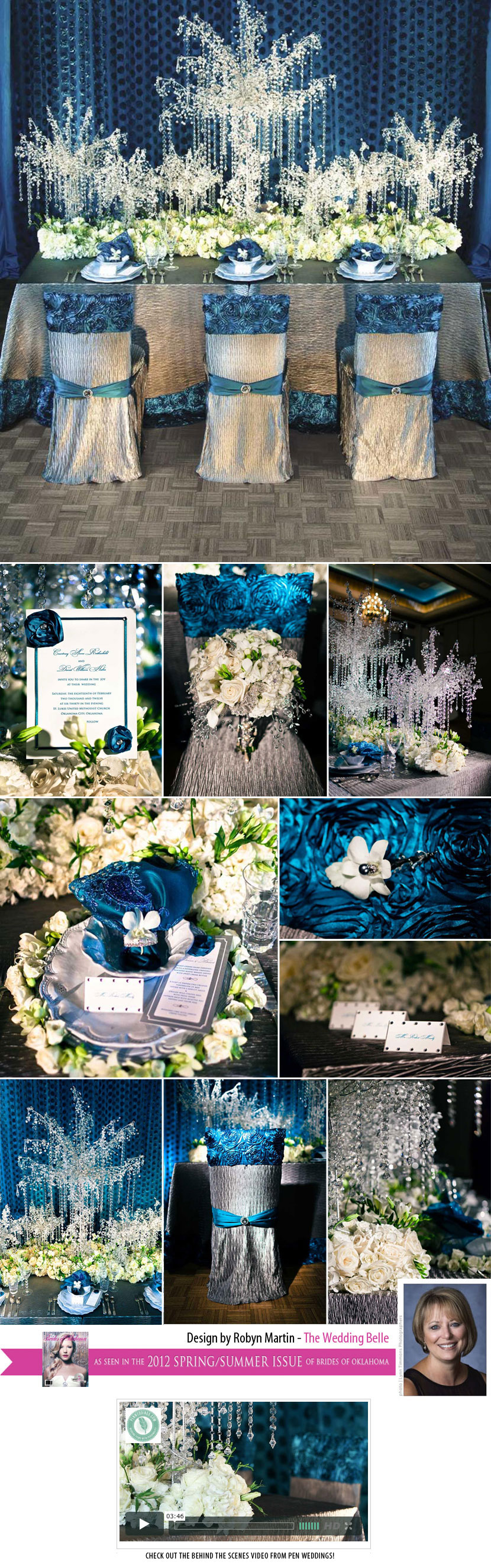 Blue and silver Oklahoma wedding inspiration by The Wedding Belle