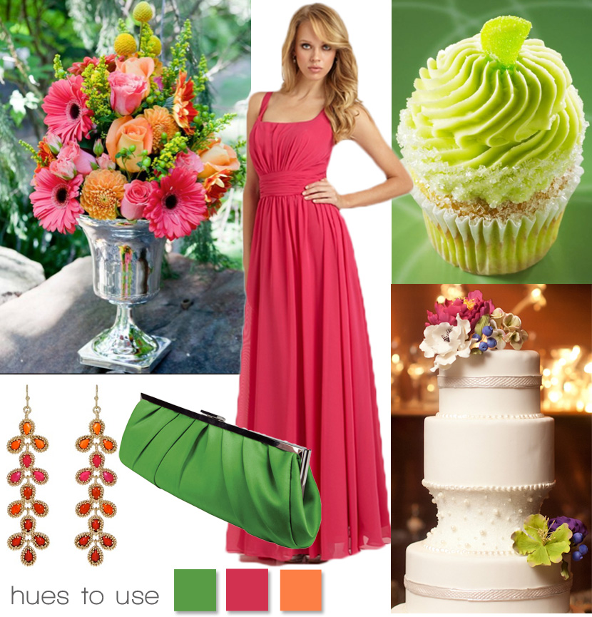 Bright wedding colors in pink green and orange